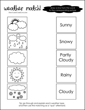 Weather Match Printable | Weather & Seasons for Preschool ...