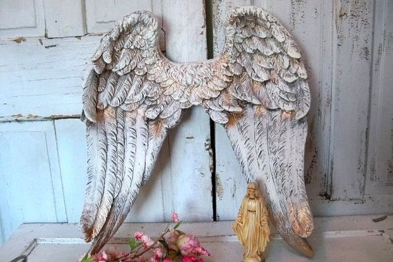 Wooden Angel Wings Wall Decor | angel wings sculpture shabby chic unique detailed feathered wall decor ...