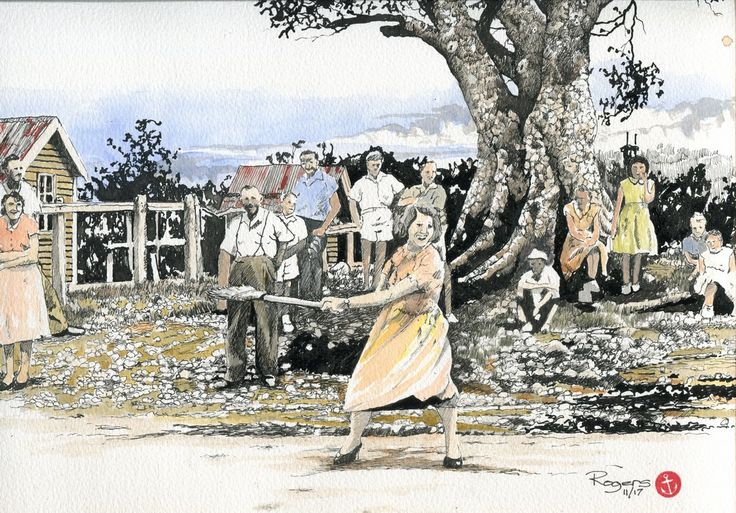 """""""Throwing the Straw Broom"""" by Kevin Rogers. It was a much simpler life back in the day when the town gathered in the main street to watch a woman throw a straw broom. Where have those halcyon days of simplicity gone? (Indian Ink and watercolour on 200gsm Acid Free Stock). This is the final Coloured Version."""