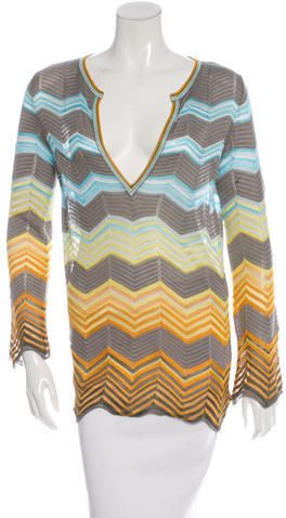 M Missoni Knit Chervron Printed Tunic