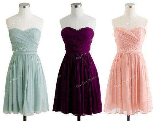 Sweetheart Short Bridesmaid Dress Short Chiffon by chiffondresses, $75.00