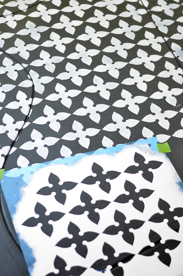 This painted stencil cement floor looks stunning in the patio makeover by Shavonda Gardner of SG Style. See how beautifully it coordinates with a lattice privacy screen. It's part of the Patio Style Challenge on The Home Depot Blog. || @SG_Style