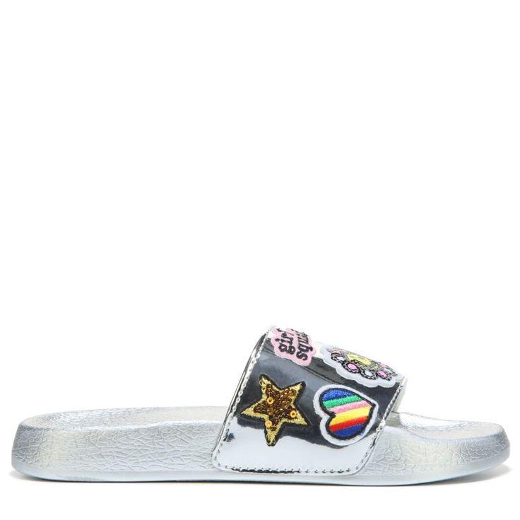 Steve Madden Kids' Grlsquad Slide Sandal Pre/Grade School Sandals (Silver) - 13.0 M