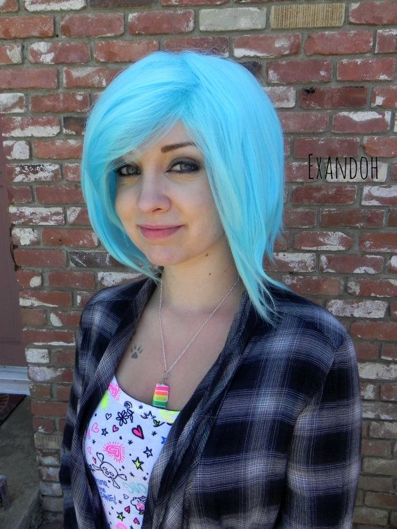 ON SALE // Short Straight A Line Wig – Beautiful Luscious Hair, Light Blue Wig, Cosplay Wig, Costume Wig, Pastel Hair, Cotton Candy