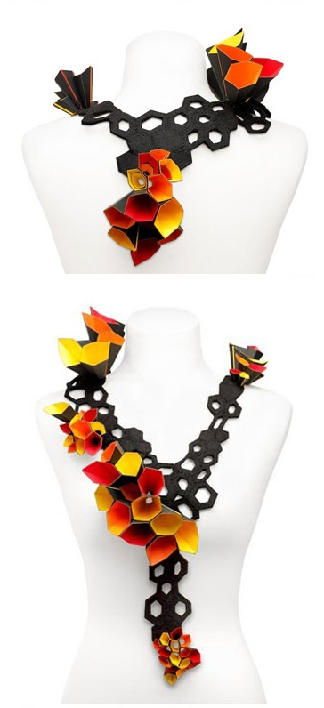 Necklace | Alexandra Tosto. 'Honeycomb dream'. Paper and felt