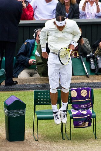 Nadal jumping, Wimbledon 2008. This photo is great!
