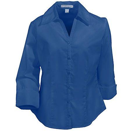 Port Authority Ladies 3/4 Sleeve Open Neck Blouse L6290 Mediterranean Blue