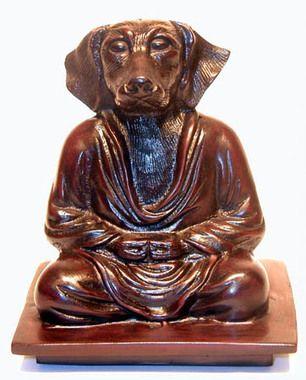 "Meditating Dog Figurine - Mahogany Color Resin 6"""""