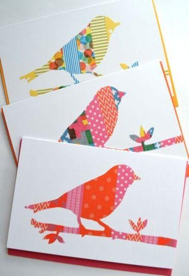 赤や黄色飲ますキングテープで作ったカードの雰囲気は、春の訪れを感じさせます。