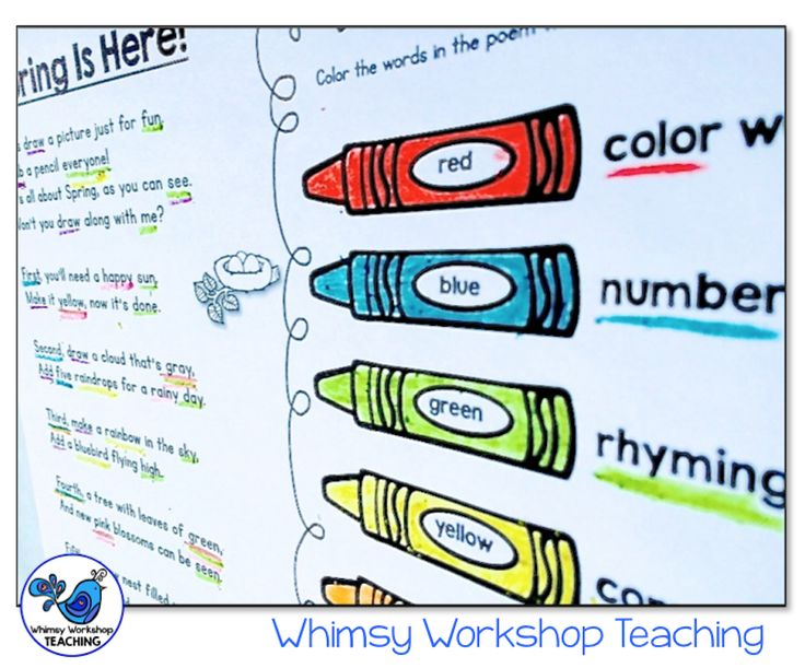 Use poetry to practice color and number words, digraphs, nouns, verbs, rhymes and parts of speech. Then use the poems for directed drawing tasks. $ Whimsy Workshop Teaching