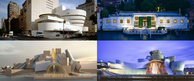 Clockwise from top left, Solomon R Guggenheim New York,Peggy Guggenheim Collection Venice.  Guggenheim Abu Dhabi. and Guggenheim Musea, Bilbao, Spain.  Designed by Frank Gehry, Canadian architect/artist.
