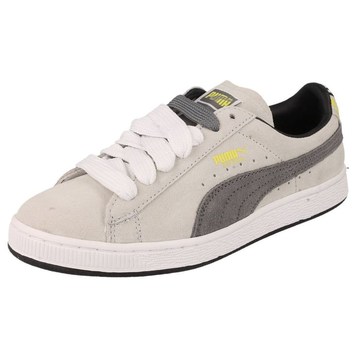 MENS PUMA TRAINERS IN WHITE/STEEL GREY/YELLOW - STYLE - 351534 02/SUEDE AFRICA