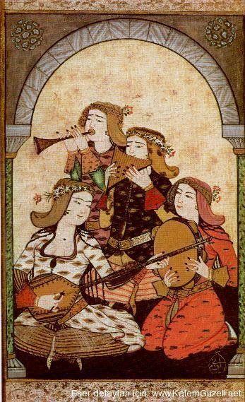 Musiki (Music) - Ottoman miniature - by Surname