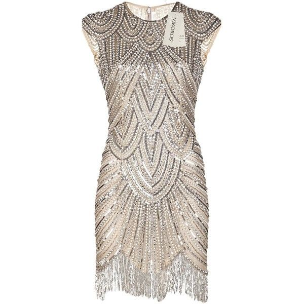 Vikoros 1920s Art Deco Great Gatsby Inspired Champagne Beaded Flapper... ($33) ❤ liked on Polyvore featuring dresses, beaded dress, 1920s gatsby dresses, art deco cocktail dress, flapper dress and roaring 20s dress