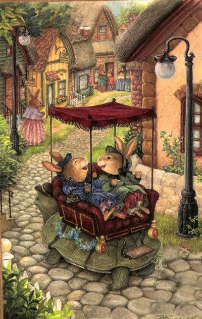 Happy bunnies traveling on a turtle. Susan Wheeler