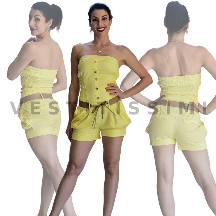 Tuta intera corta Overall donna estiva  Overall tutina donna leggera con cinta. Tuta intera jumpsuit con fantasia tinta unita, e scollatura bandeau.