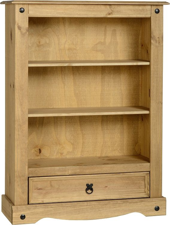 Seconique Corona Distressed Waxed Pine 1 Drawer Low Bookcase