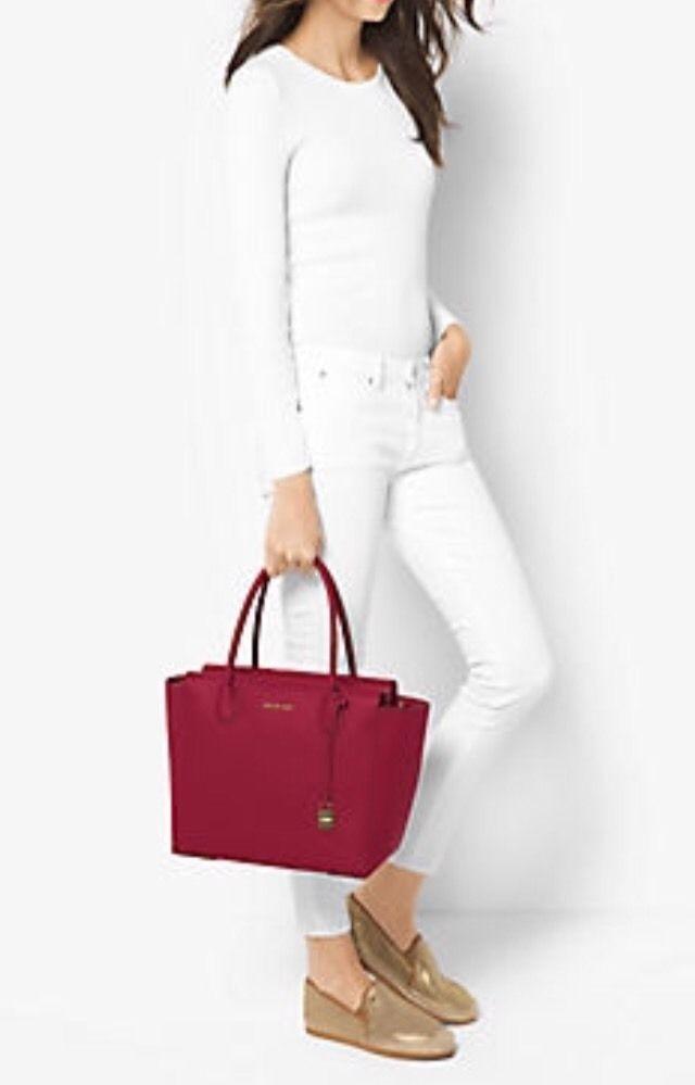 NWT Michael Kors Studio Mercer Large Leather Satchel/ Shoulder Bag in Cherry Red #MichaelKors #SatchelShoulderBag