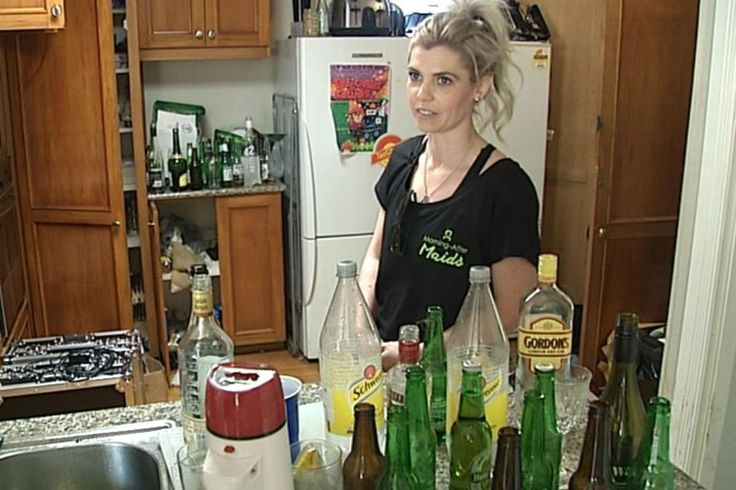 Two Auckland women clean-up from a party the morning after. Called the Morning After Maids, they take care of all the mess.