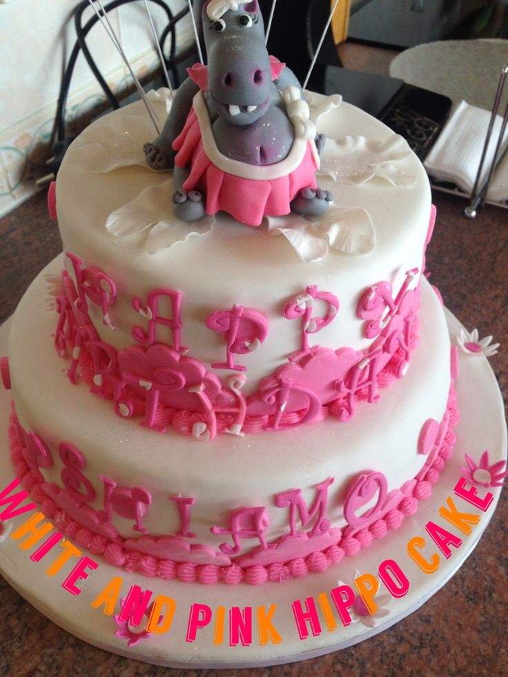 White and pink hippo cake