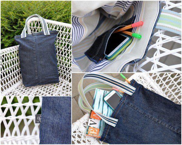 Varrj táskát elhasznált farmeredből - Masni, Easy sewing project, reuse jeans turn it into a tote bag in a few steps. DIY, sewing.