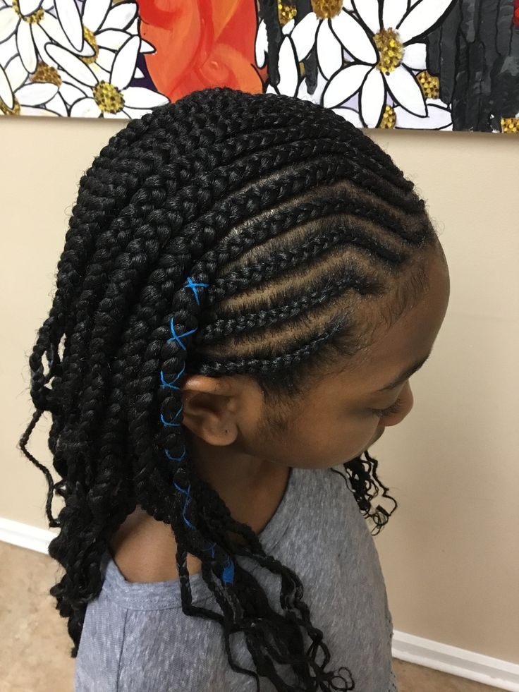 Kids cornrows with box braids and styling string in 2019