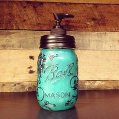 Turquoise Colored Mason Jar Soap Dispenser with Black Lid and Black Pump