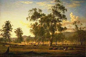 John Glover- Australian landscape with cattle: the artist's property Patterdale,  circa 1835