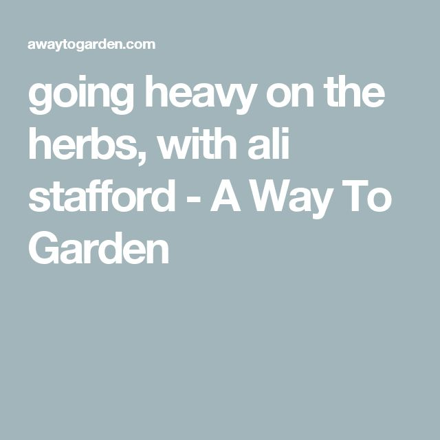 going heavy on the herbs, with ali stafford - A Way To Garden