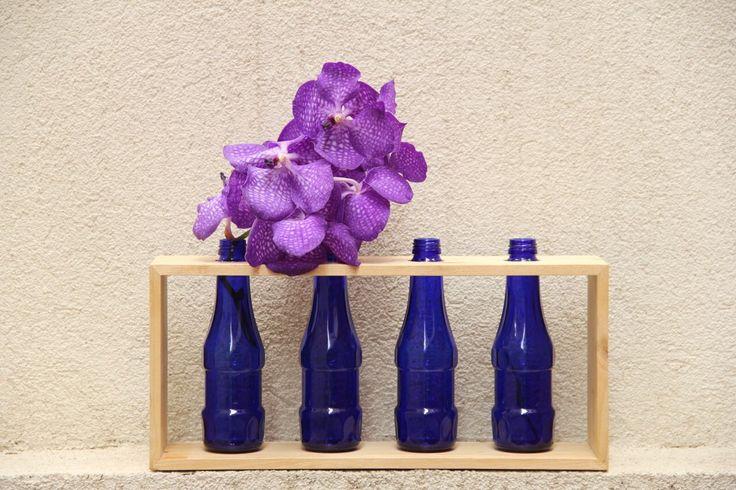 .DIT  Glass Bottle & Wood Vase Recyhle .