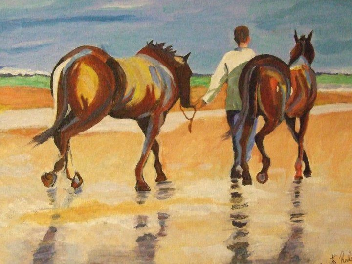 Artist Annette Reddan, Ireland, inspired by 'Beach Horses' by Jack Vettriano. SOLD