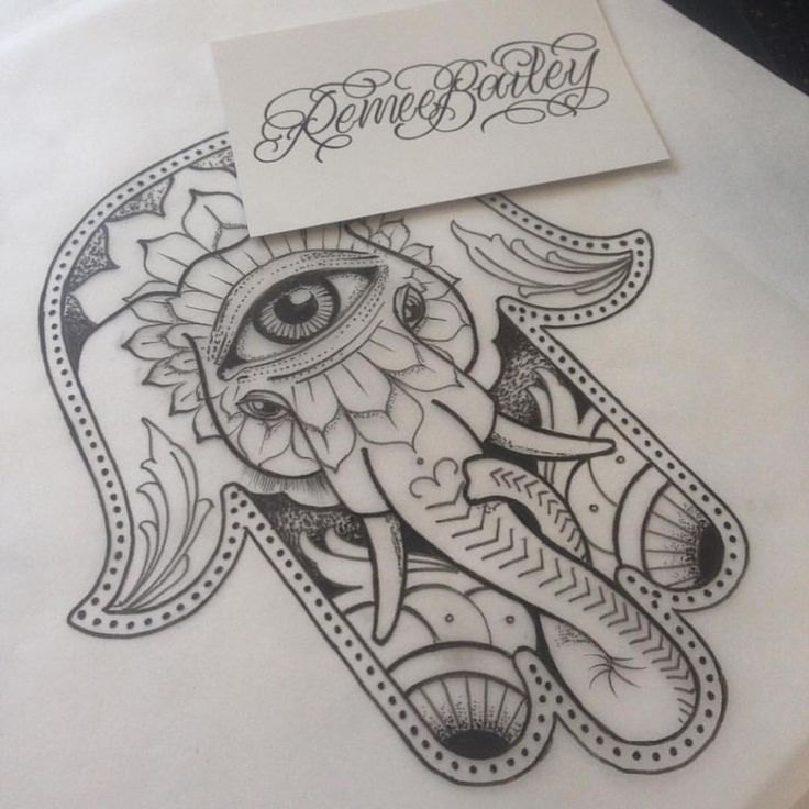 Cool Dotwork Elephant Hamsa Tattoo Design