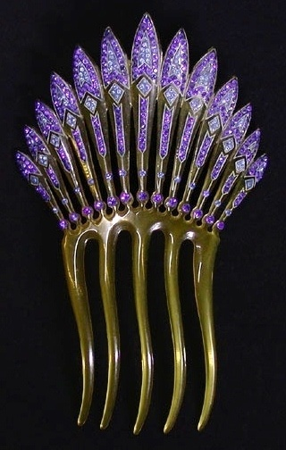 Antique Art Deco Hair Comb  #purple