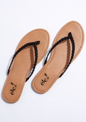 8af63bdec A pair of faux suede thong sandals with sweet braided straps. Shop rue21!