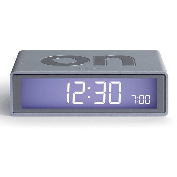 Lexon Flip Clock - Dark Aluminum (53 CAD) ❤ liked on Polyvore featuring home, home decor, clocks, grey, grey clock, battery clock, dial alarm clock, lexon clock and gray clock