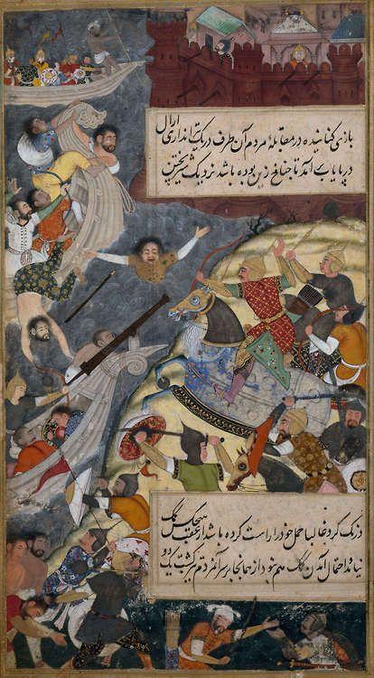 timur-i-lang: Babur's Men Pursuing The Inhabitants Of Bilah Across The River Indus India, Mughal, circa 1589 CE