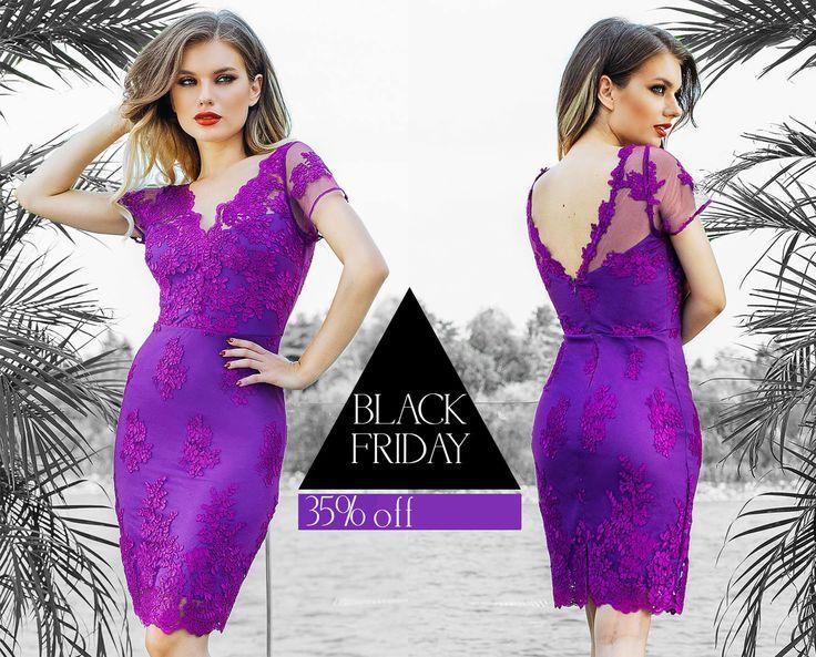 Purple lace dress with a 35% off discount for Black Friday! Shop here: https://missgrey.org/en/dresses/midi-cocktail-dress-purple-lace-eleny/578?utm_campaign=black_friday&utm_medium=rochie_eleny_mov&utm_source=pinterest_produs