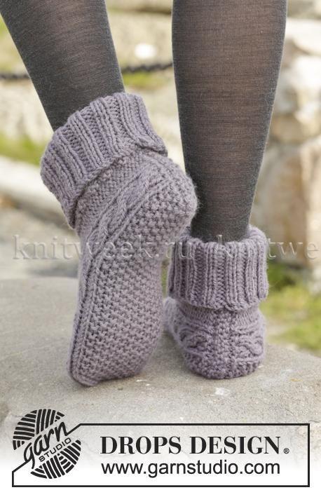 Рельефные носки спицами с отворотом - Фото 1