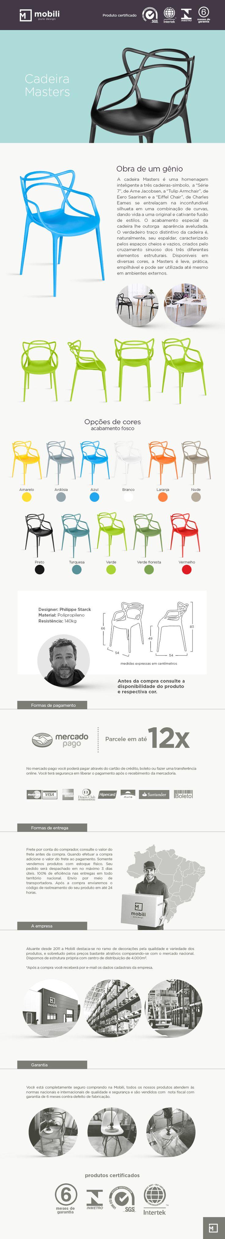 Cadeira Masters - Cadeira Allegra - Design - Várias Cores - R$ 169,00
