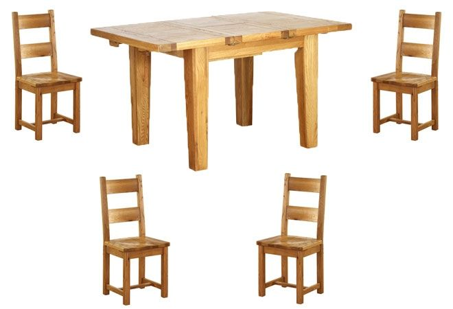 Vancouver Oak Petite 1000-1400mm Extending Dining Table & 4 Oak Dining Chairs