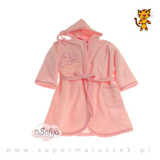 Różowy szlafroczek z aplikacją króliczka. Idealny prezent dla małej dziewczynki. Świetne ubranko do założenia po kąpieli. #supermaluszek #szlafrok #kapiel #dziecko