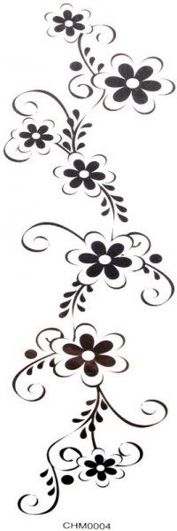 Cool Hand Tattoos | Cool Waterproof tattoo sticker black flowers (waist / chest / back ...