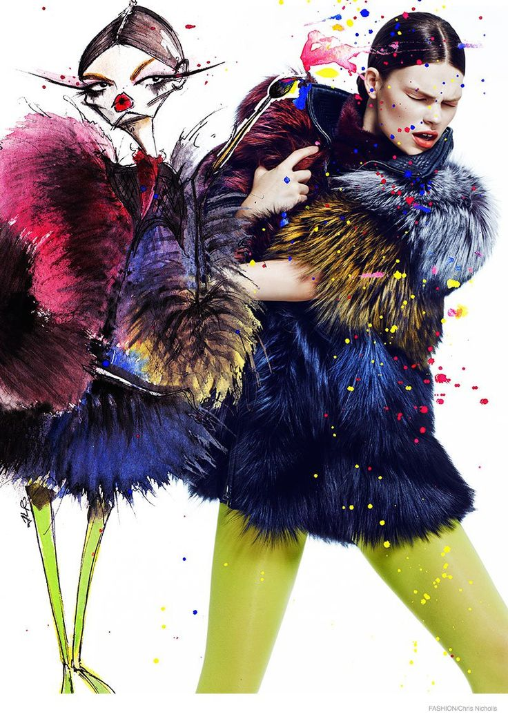 Kelly Mittendorf in Double, Double shoot for Fashion Magazine Nov 2014 issue by Chris Nicholls, styled by fashion editor Zeina Esmail. illustrations by Jamie Lee Reardin