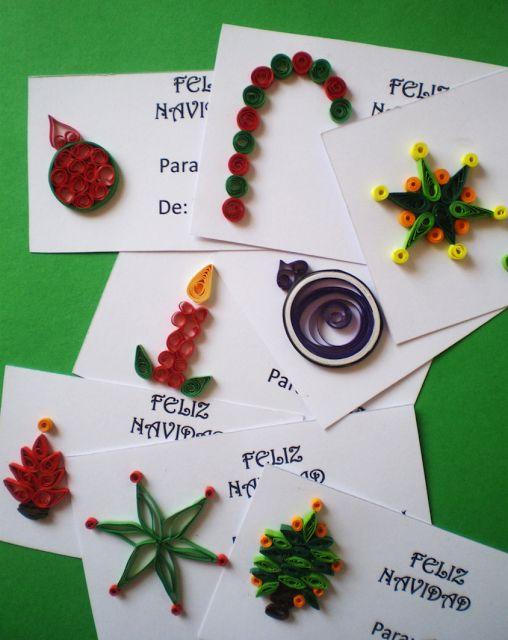 Manualidades Tres Angeles : Tarjetas para Navidad en filigrana de papel