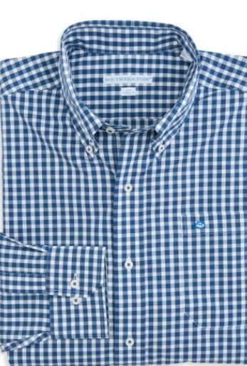 SOUTHERN Tide GINGHAM Shirt LARGE Classic FIT Blue OXFORD Checked WHITE Mens SZ* #SouthernTide