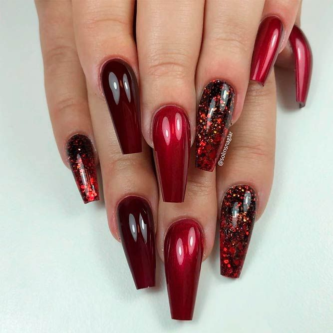 Metallic Red Nails With Glitter Ombre Glitternails Rednails Ombrenails Ombre Nails Glitter Red Nails Glitter Red Ombre Nails
