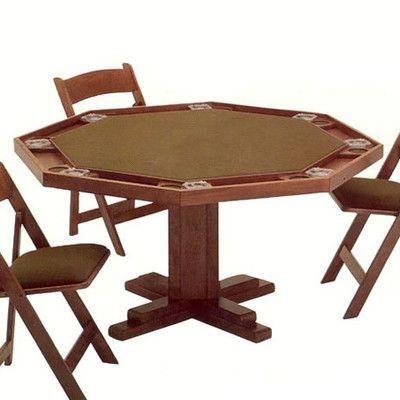 Kestell Furniture 57'' Pedestal Base Poker Table Upholstery: Burgundy Felt, Finish: Fruitwood/Walnut