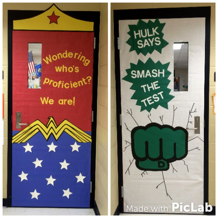 State testing classroom door decorations! Superhero themed!