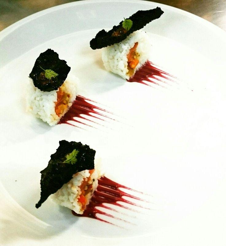 Sushi tuna tapioca beetroot