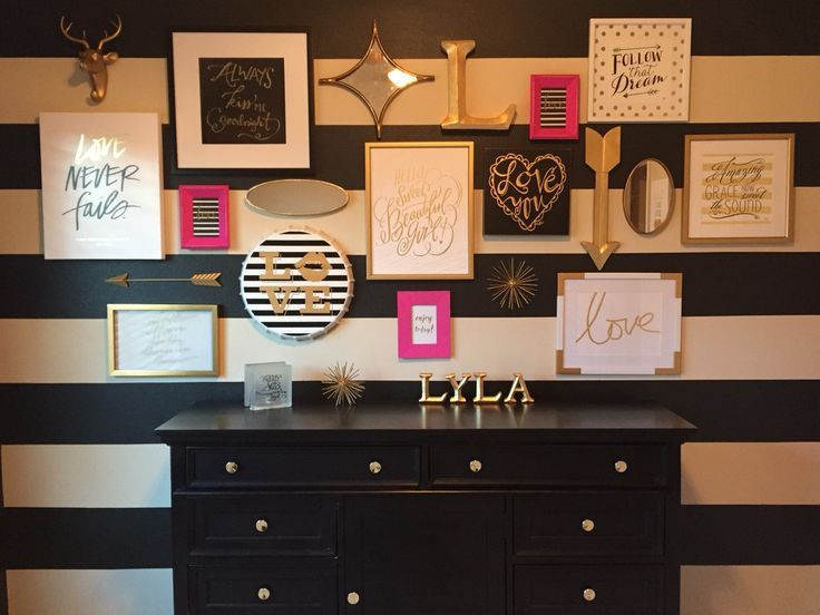 Love The Black U0026 White Stripes On The Wall. Want My Office To Be Black,  White, Gold U0026 Pops Of Hot Pink!